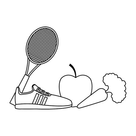 delicious fit vegetable cartoon vector illustration graphic design Illustration
