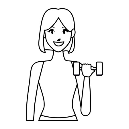 fit woman doing exercise cartoon vector illustration graphic design Ilustração