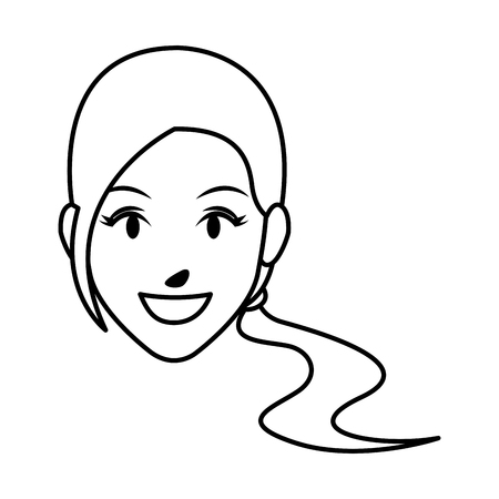 cute woman face cartoon vector illustration graphic design