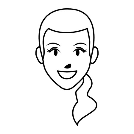 cute woman face cartoon vector illustration graphic design