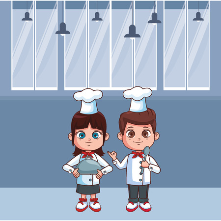 cute chef children inside kitchen cartoon vector illustration graphic design Illustration