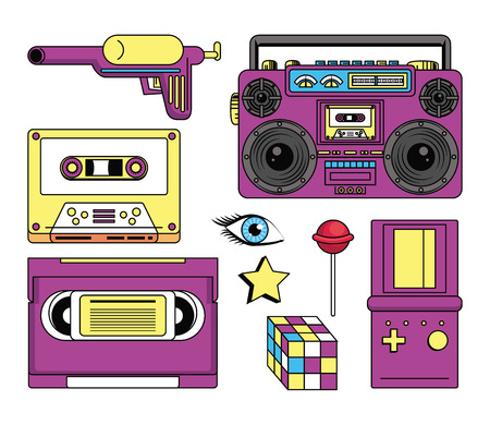 eighties and nineties style objects stereo cssette vcr tape game boy lollypop vector illustration graphic design Illustration
