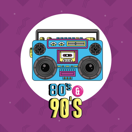 eighties and nineties style stereo round icon purple background vector illustration graphic design