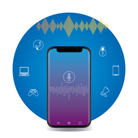 smartphone connection apps with icon voice vector illustration graphic design