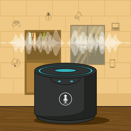wireless music speaker with sound waves technology vector illustration graphic design