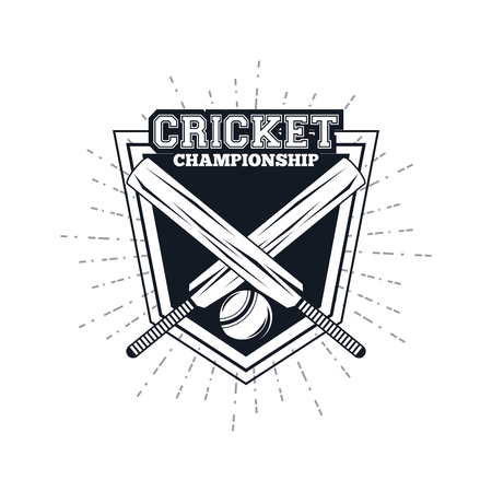 cricket player badge equipment championship vector illustratatio graphic design