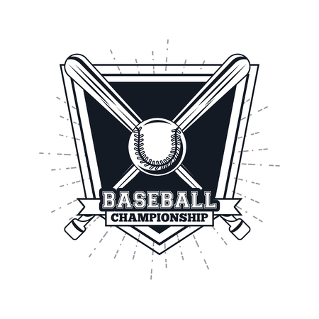Baseball championship emblem with bats and ball vector illustratatio graphic design