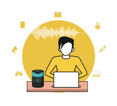 Connected person with wireless speaker application coomputer vector illustration graphic design