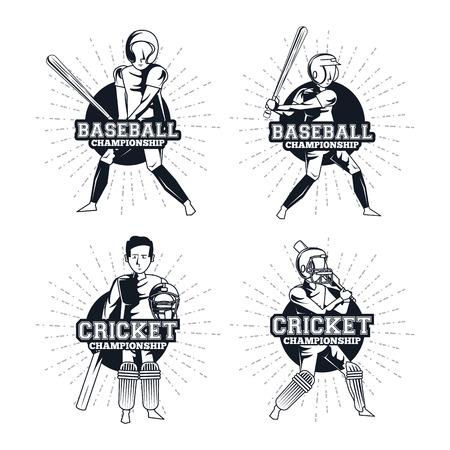 baseball and cricket player set avatar cartoons with bats and balls vector illustratatio graphic design