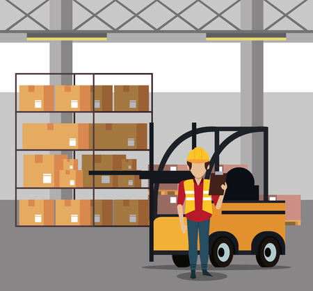 Courier working with boxes in warehouse vector illustration graphic design Illustration
