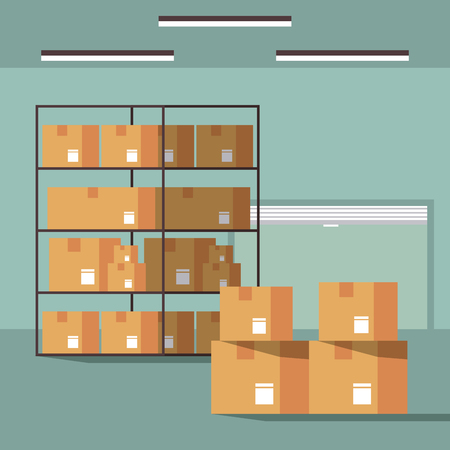 Warehouse logistics building interior with boxes on shelfs vector illustration graphic design Ilustracja