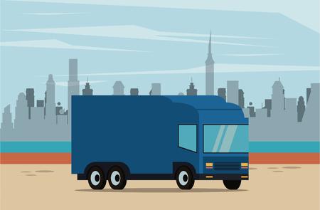 delivery truck over cityscape scenery vector illustration graphic design