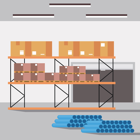 Warehouse logistics building interior with boxes on shelfs vector illustration graphic design Illustration