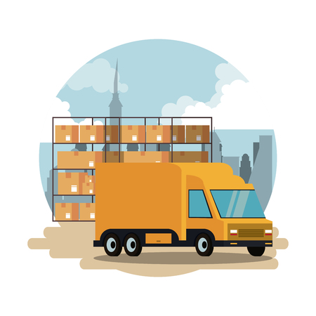Warehouse with cargo vehicle truck scenery vector illustration graphic design Illustration