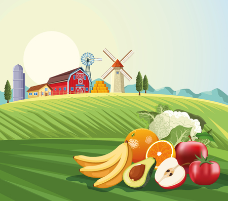 Fruits and vegetables over farm landscape scenery vector illustration graphic design