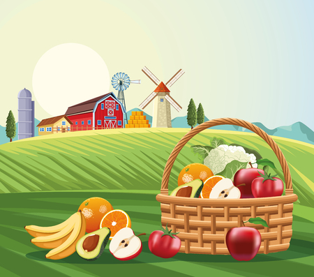 Fruits and vegetables in basket over farm landscape scenery vector illustration graphic design
