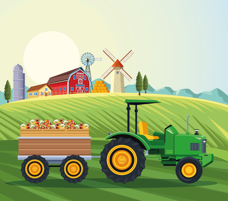 farm tractor pushing fruits with cart over farm landscape scenery vector illustration graphic design