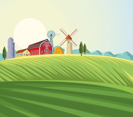 Bauernhoflandschaftslandschaft mit Windmühlen- und Scheunenvektorillustrationsgrafikdesign