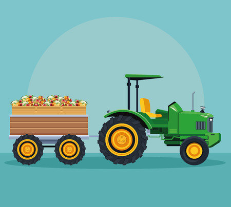 farm tractor pushing fruits with cart over blue background vector illustration graphic design Illustration