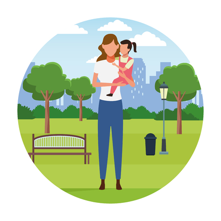 Family mother with daughter at city park vector illustration graphic design