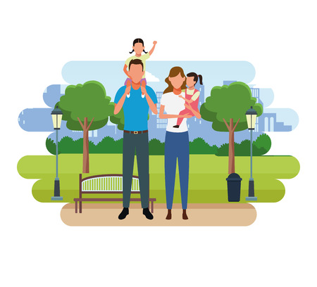 Family father and mother with son on shoulds at city park scenery vector illustration graphic design