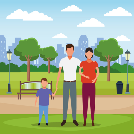 Family pregnant mother and father with son at city park scenery vector illustration graphic design