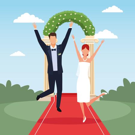 wedding bride nad groom couple ocer columns entrance with bushes vector illustration graphic design Illustration