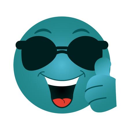 Chat round emoji with sunglasses emoticon vector illustration graphic design