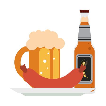 Bière et saucisse o plat vector illustration graphic design