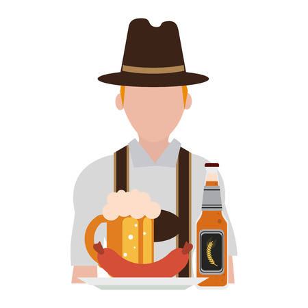 Bavarian man oktoberfest avatar with food and beer vector illustration graphic design Illustration