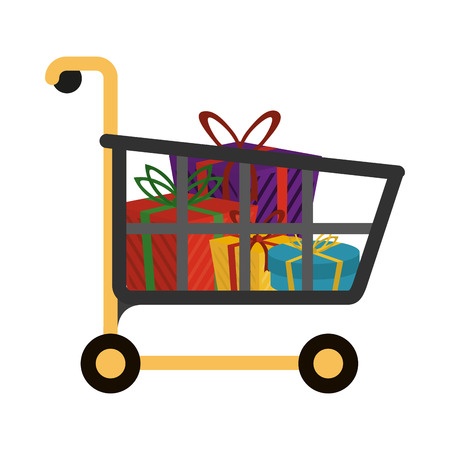 Shopping cart with bags symbol vector illustration graphic design Imagens - 127015649