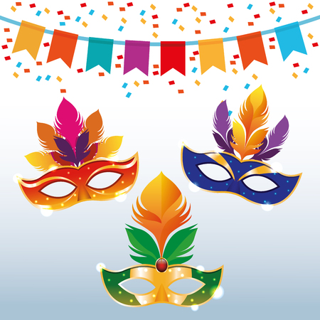 Mari gras masks with pennants and confetti vector illustration graphic design