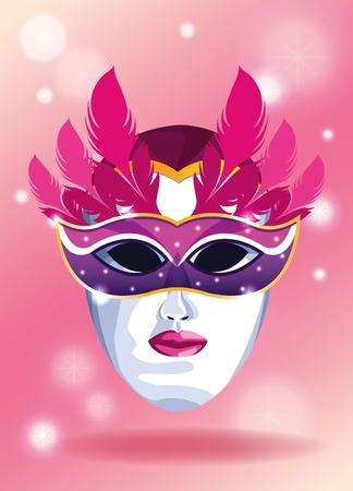 Mari gras mask on white face decorative card vector illustration graphic design