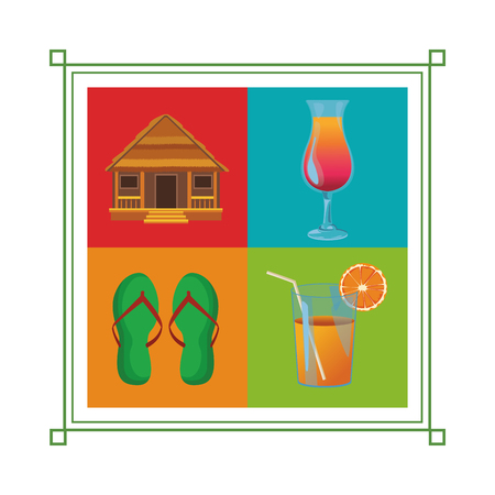 Conjunto de icono de vacaciones en la playa cabaña flips flops cóctel jugo de naranja ilustración vectorial diseño gráfico Ilustración de vector