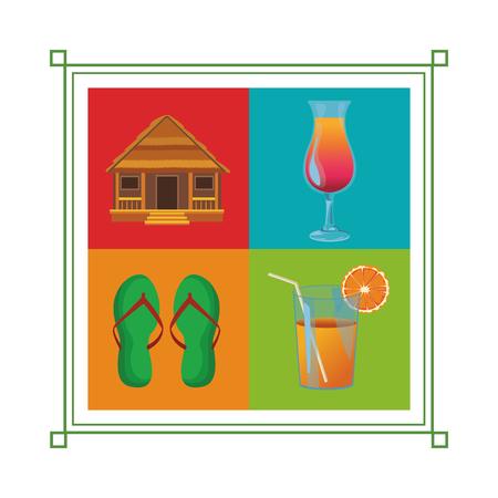 set of beach vacation icon cottage flips flops cocktail orange juice vector illustration graphic design