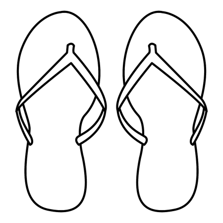 flips flops icon isolated drawing in white background vector illustration graphic design Vectores