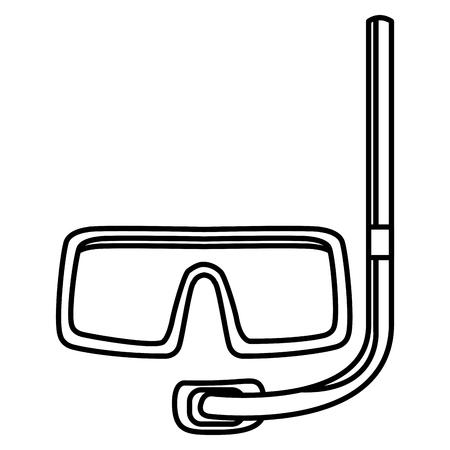 Tauchmaske Schnorchel isolierte Zeichnung in weißem Hintergrund Vektor-Illustration Grafik-Design