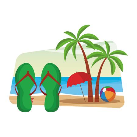Flips flops y palm con sombrilla de playa y bola de diseño gráfico de ilustración de vector colorido paisaje marino
