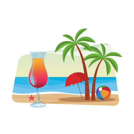 cocktail and palm tree with beach umbrella and ball seascape colorful vector illustration graphic design