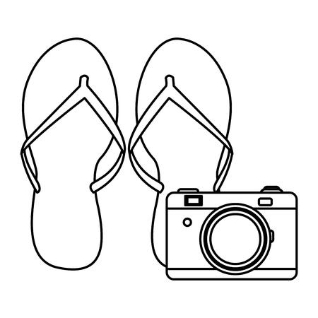 Flips flops con dibujo de cámara en diseño gráfico de ilustración de vector de fondo blanco