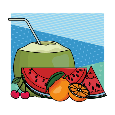 coconut with oranges and watermelon colorful background vector illustration graphic design