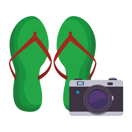 flips flops with camera colorful in white background vector illustration graphic design