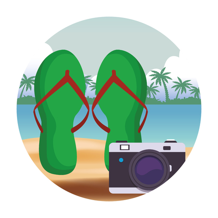 flips flops with camera colorful seascape round icon vector illustration graphic design
