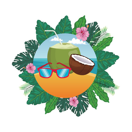 sunglasses with coconut seascape round icon colorful vector illustration graphic design