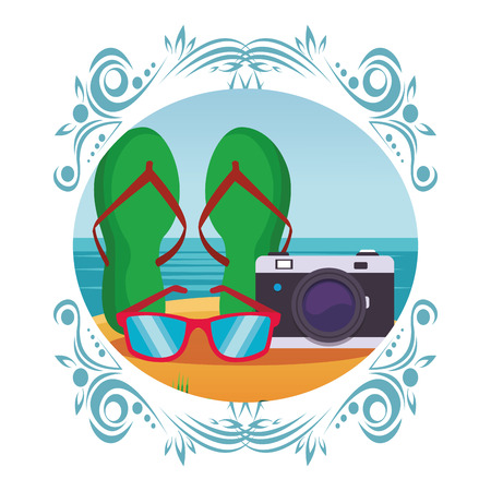 Flips flops y cámara con gafas de sol paisaje marino colorido icono redondo ilustración vectorial diseño gráfico Ilustración de vector