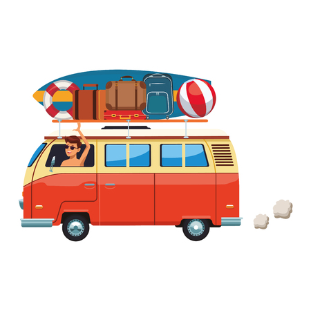 camper van with baggage isolated in white background vector illustration graphic design Standard-Bild - 126983376