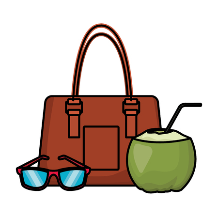 coconut with beach bag and sunglasses colorful in white background vector illustration graphic design