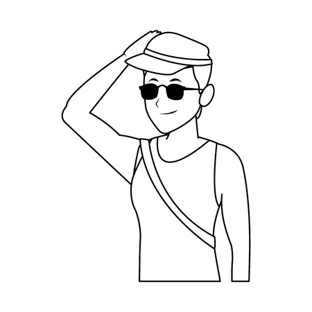 lifeguard man halfbody sunglasses and hat in white background vector illustration graphic design Illustration