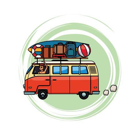Wohnmobil mit Gepäck in weißem Hintergrund Vektor-Illustration Grafik-Design isoliert