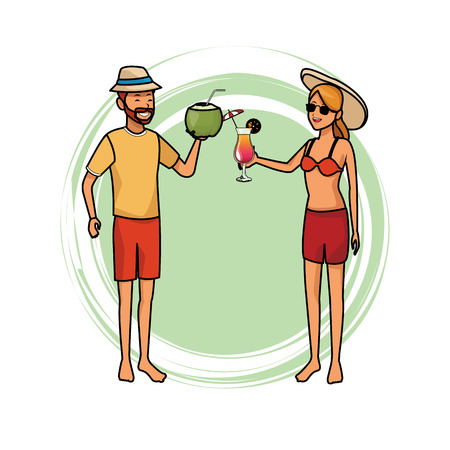 couple with tropical beverage coconut cocktail hat sunglasses vector illustration graphic design